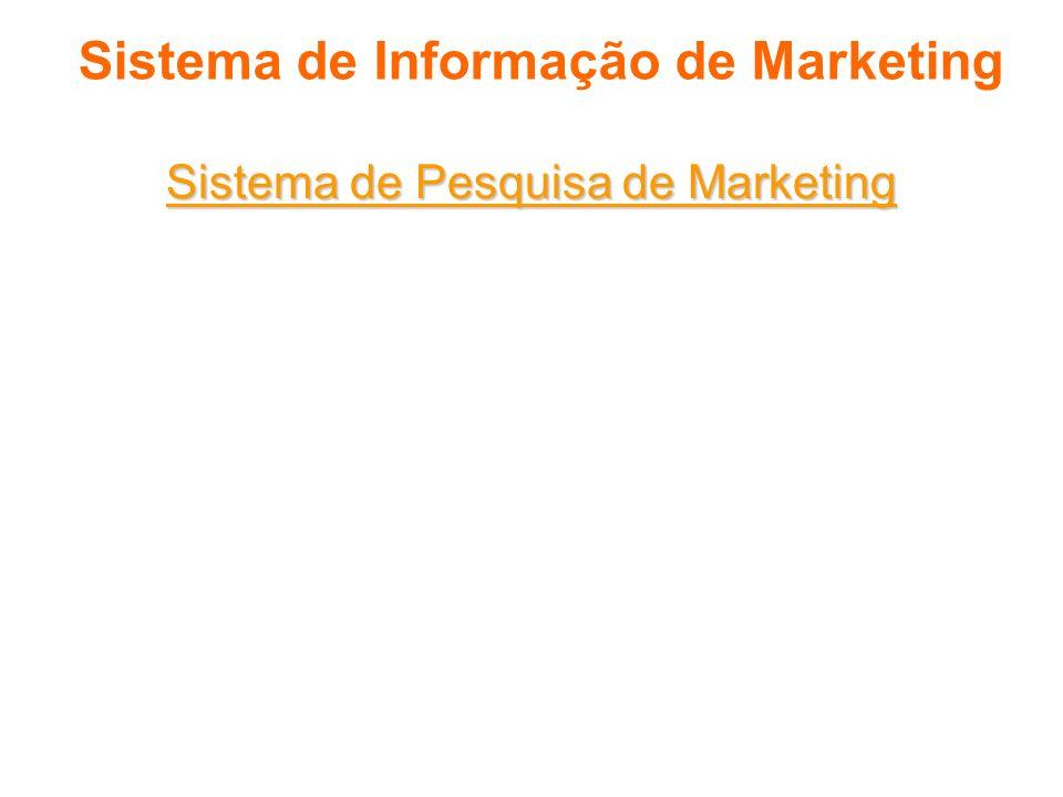 Sistema de Informação de Marketing Sistema de Pesquisa de Marketing Pesquisa de marketing corresponde, à coleta, à análise e à edição de relatórios si