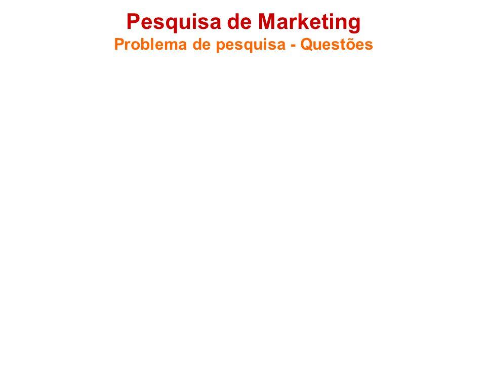 Pesquisa de Marketing Problema de pesquisa - Questões 1.3 Questões a serem respondidas - Funcionam como um roteiro de pesquisa. - Podem substituir a f