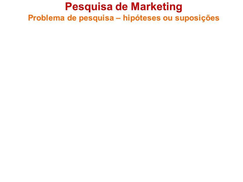 Pesquisa de Marketing Problema de pesquisa – hipóteses ou suposições 1.4 Hipóteses, ou suposições (se for o caso) - Hipóteses, ou suposições, são a an