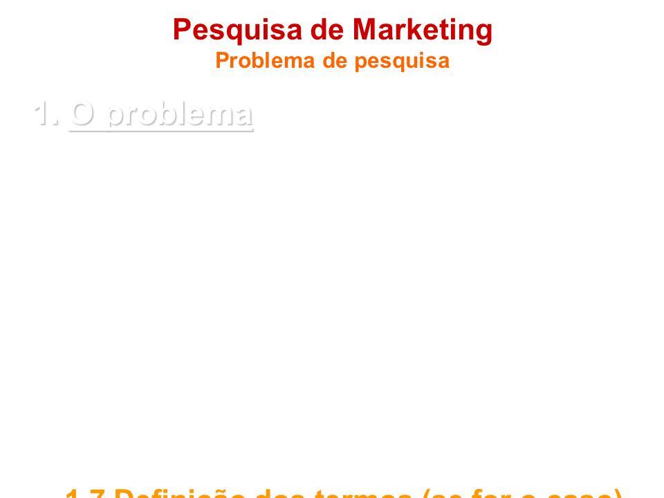 Pesquisa de Marketing Problema de pesquisa 1. O problema 1.1 Introdução 1.2 Objetivos (final e intermediário) 1.3 Questões a serem respondidas (se for