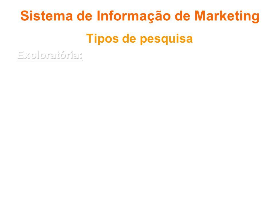 Sistema de Informação de Marketing Tipos de pesquisa Exploratória: Exploratória: o objetivo é demonstrar a real natureza do problema e sugerir possíve