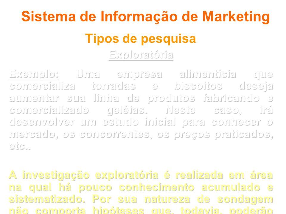 Sistema de Informação de Marketing Tipos de pesquisaExploratória Exemplo: Uma empresa alimentícia que comercializa torradas e biscoitos deseja aumenta