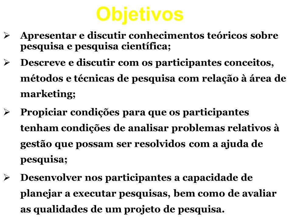 Objetivos Apresentar e discutir conhecimentos teóricos sobre pesquisa e pesquisa científica; Descreve e discutir com os participantes conceitos, métod