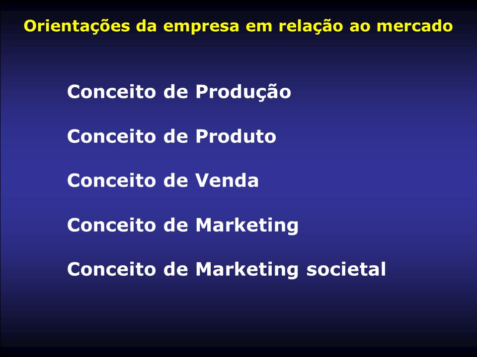 Orientações da empresa em relação ao mercado Conceito de Produção Conceito de Produto Conceito de Venda Conceito de Marketing Conceito de Marketing so