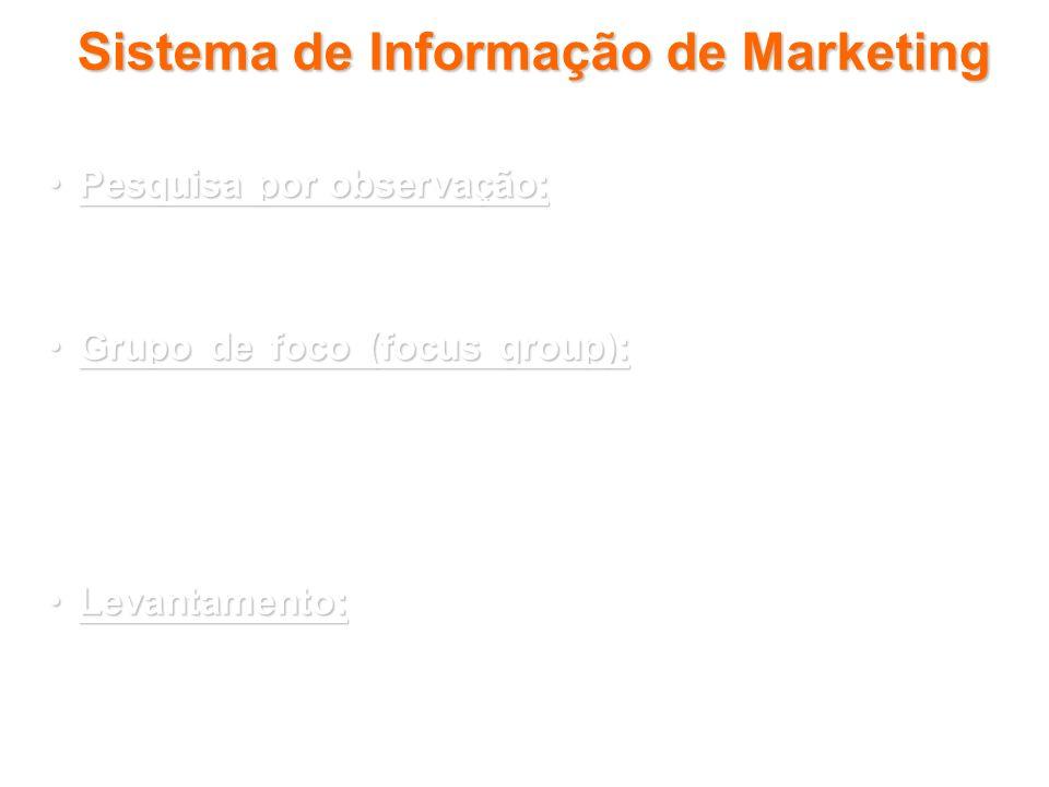 Sistema de Informação de Marketing Pesquisa por observação:Pesquisa por observação: dados novos podem ser reunidos observando-se participantes e cenár