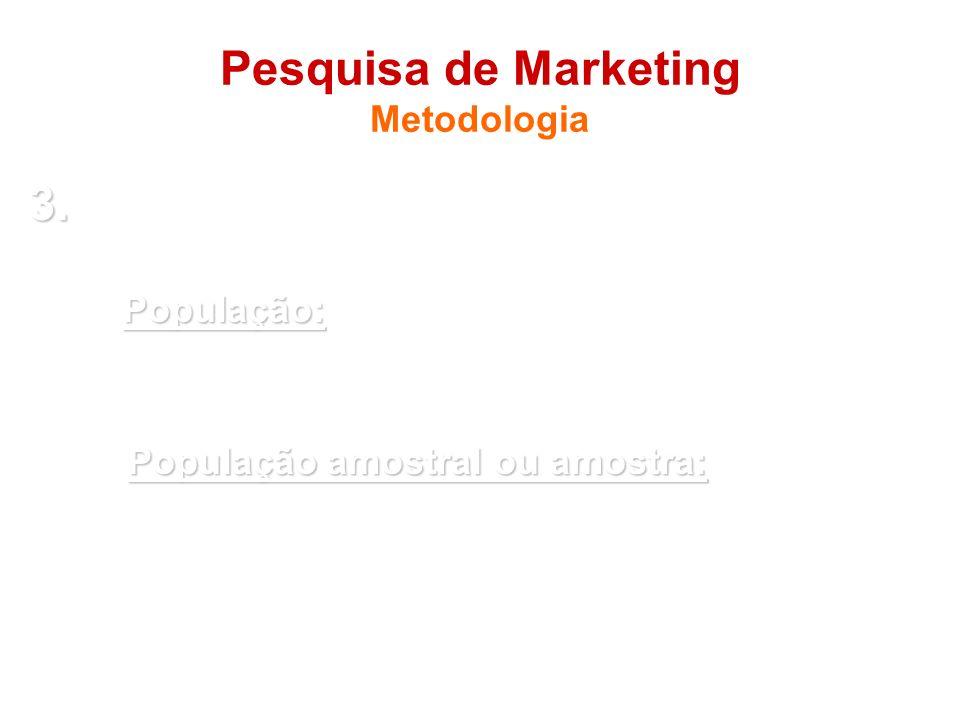 Pesquisa de Marketing Metodologia 3. 3. Universo (população) e amostra (se for o caso) População: - População: conjunto de elementos (empresas, produt