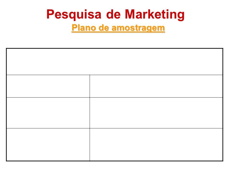 Pesquisa de Marketing Plano de amostragem Amostragem não-probabilística Amostra de conveniênciaO entrevistador escolhe os membros mais acessíveis da p