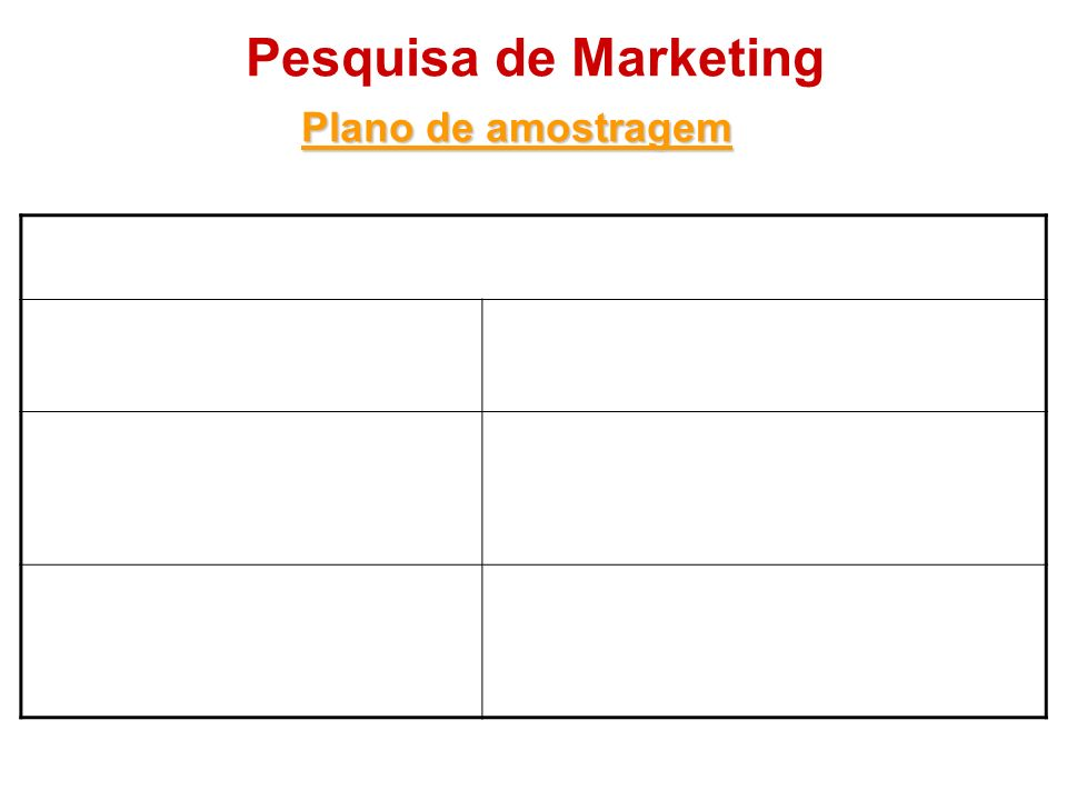 Pesquisa de Marketing Plano de amostragem Amostragem probabilística Amostragem aleatória simples Todo membro da população tem a mesma chance de ser es