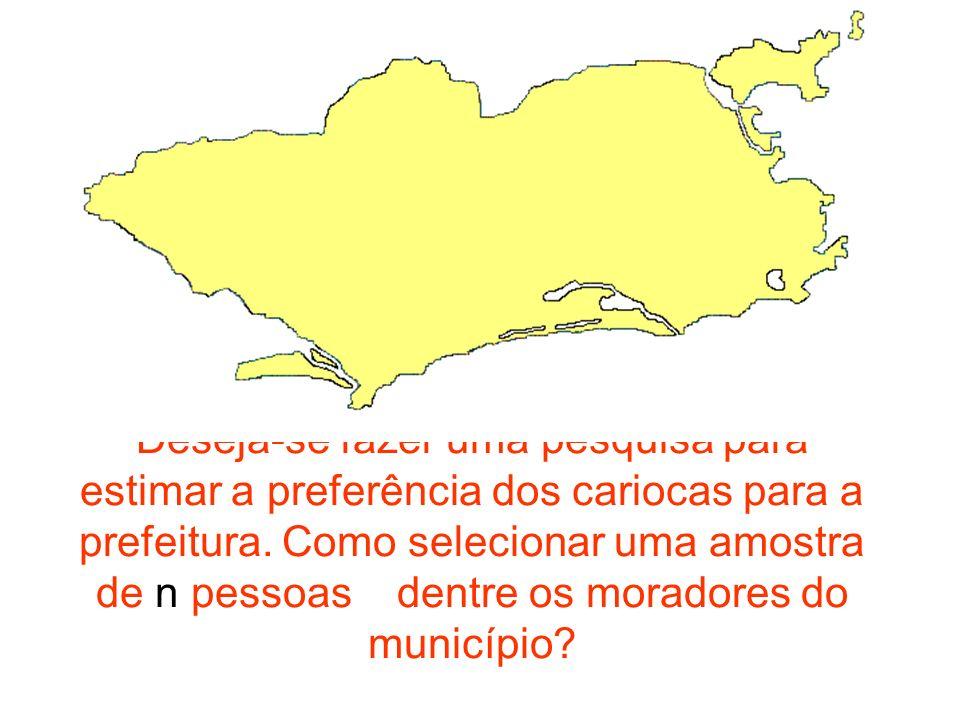 Deseja-se fazer uma pesquisa para estimar a preferência dos cariocas para a prefeitura. Como selecionar uma amostra de n pessoas dentre os moradores d