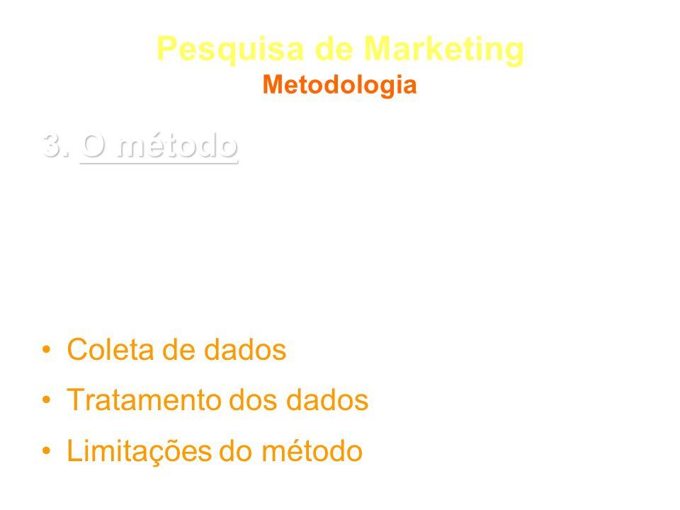 Pesquisa de Marketing Metodologia 3. O método Tipo de pesquisa Universo e amostra (se for o caso) Seleção de sujeitos (se for o caso) Coleta de dados