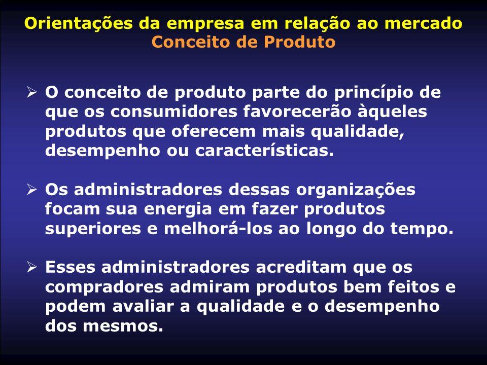 Orientações da empresa em relação ao mercado Conceito de Produto O conceito de produto parte do princípio de que os consumidores favorecerão àqueles p