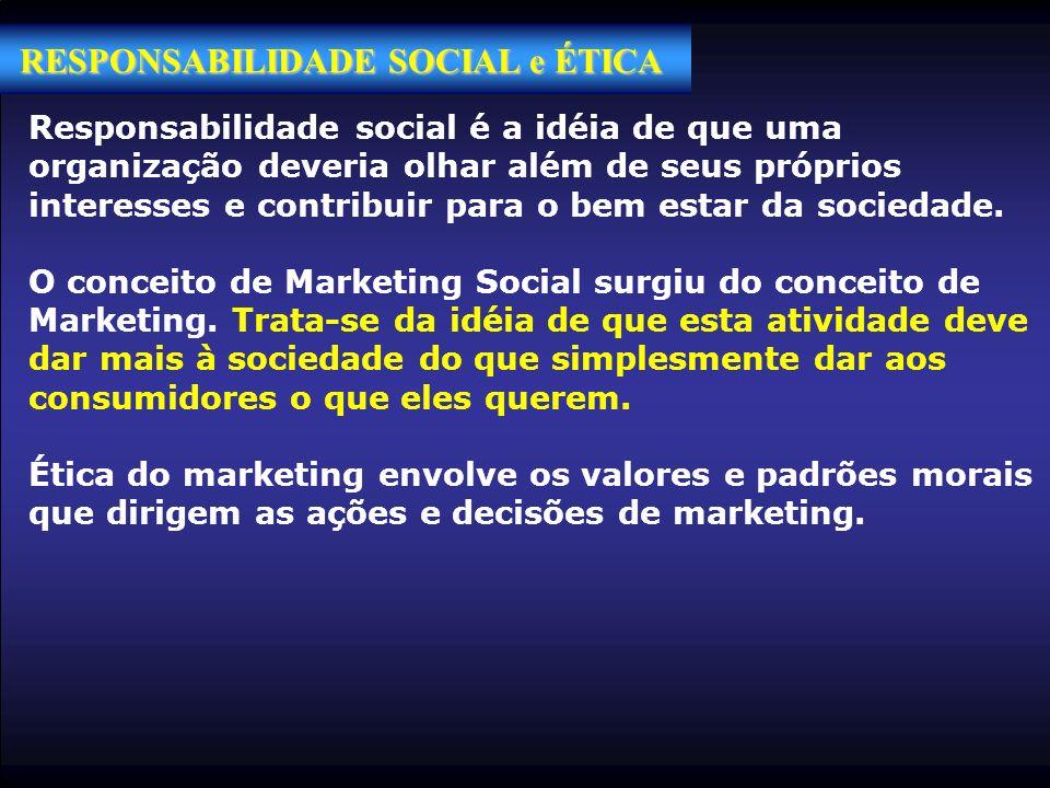RESPONSABILIDADE SOCIAL e ÉTICA Responsabilidade social é a idéia de que uma organização deveria olhar além de seus próprios interesses e contribuir p