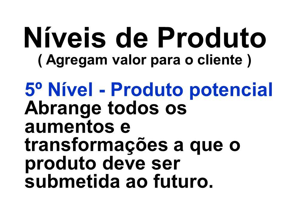 Níveis de Produto ( Agregam valor para o cliente ) 5º Nível - Produto potencial Abrange todos os aumentos e transformações a que o produto deve ser su