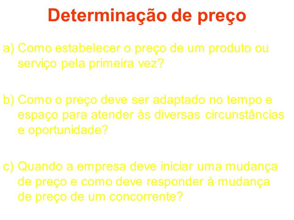 Determinação de preço a)Como estabelecer o preço de um produto ou serviço pela primeira vez? b)Como o preço deve ser adaptado no tempo e espaço para a