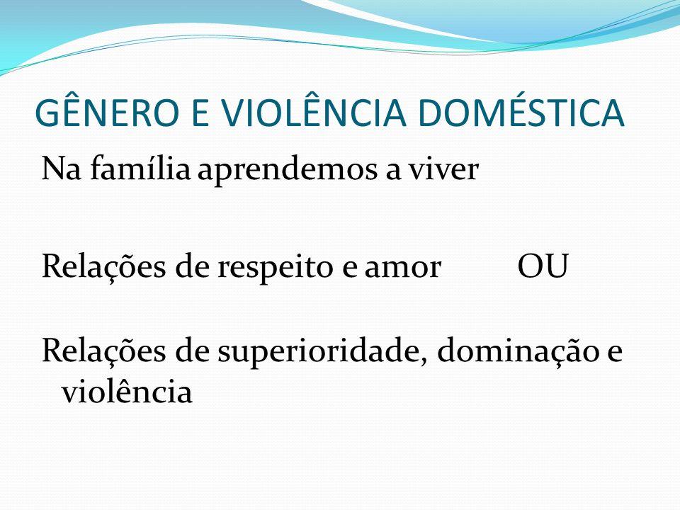 GÊNERO E VIOLÊNCIA DOMÉSTICA Na família aprendemos a viver Relações de respeito e amor OU Relações de superioridade, dominação e violência