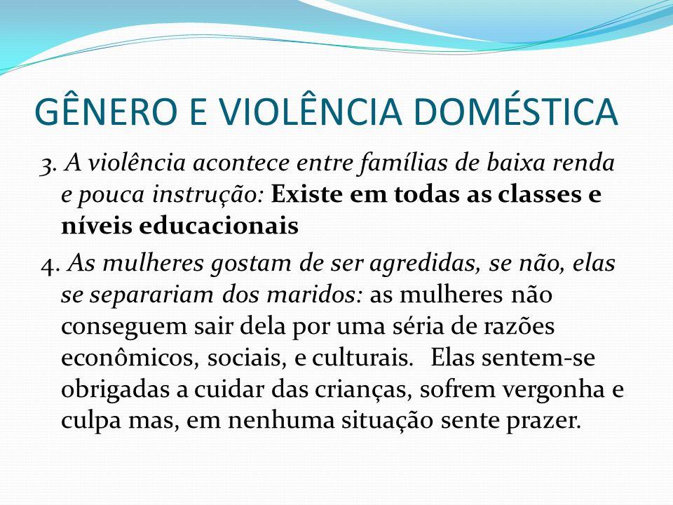 GÊNERO E VIOLÊNCIA DOMÉSTICA 3. A violência acontece entre famílias de baixa renda e pouca instrução: Existe em todas as classes e níveis educacionais