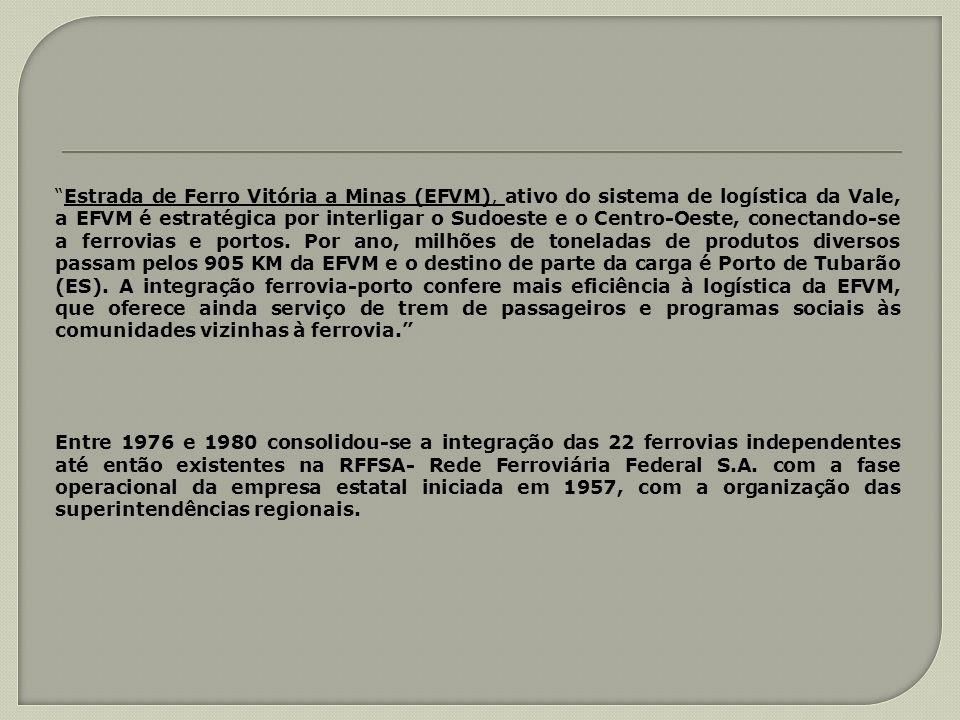 Estrada de Ferro Vitória a Minas (EFVM), ativo do sistema de logística da Vale, a EFVM é estratégica por interligar o Sudoeste e o Centro-Oeste, conec