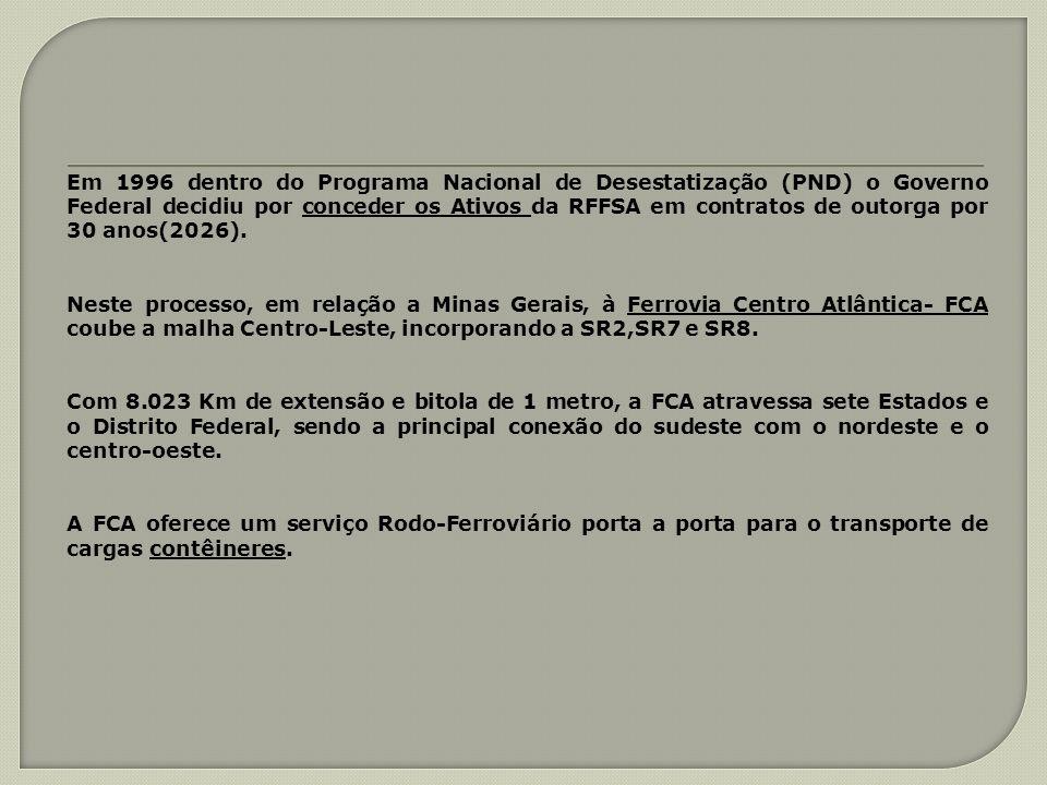 Em 1996 dentro do Programa Nacional de Desestatização (PND) o Governo Federal decidiu por conceder os Ativos da RFFSA em contratos de outorga por 30 a