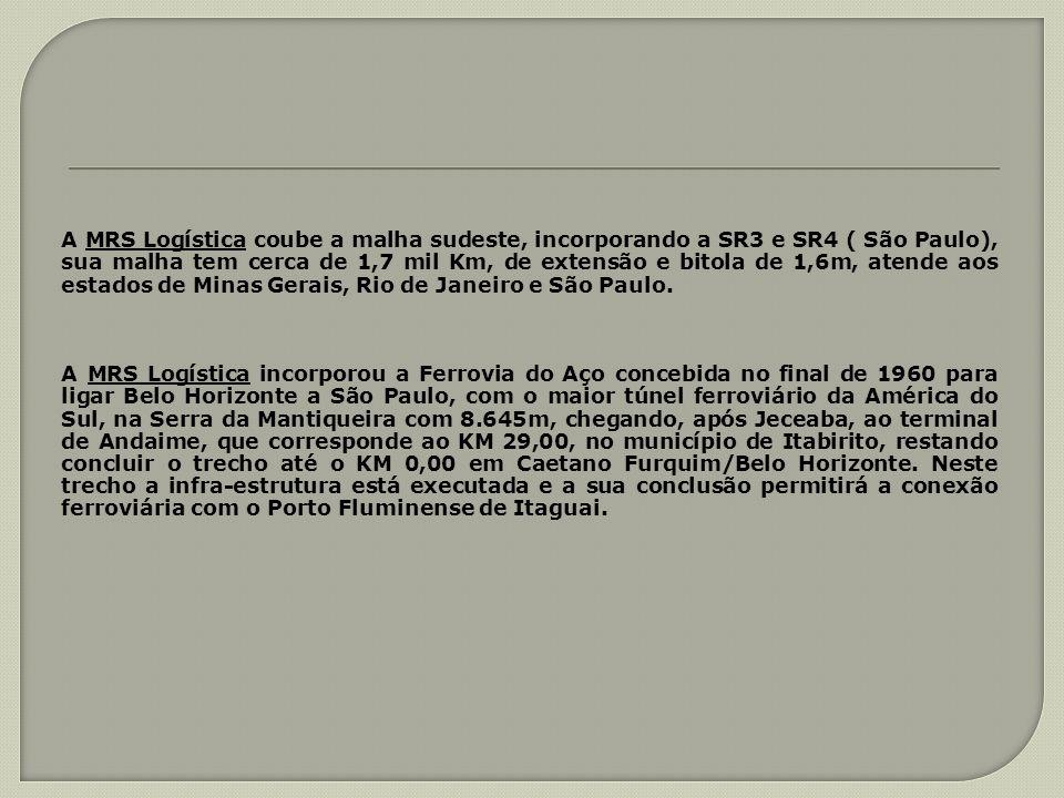 A MRS Logística coube a malha sudeste, incorporando a SR3 e SR4 ( São Paulo), sua malha tem cerca de 1,7 mil Km, de extensão e bitola de 1,6m, atende