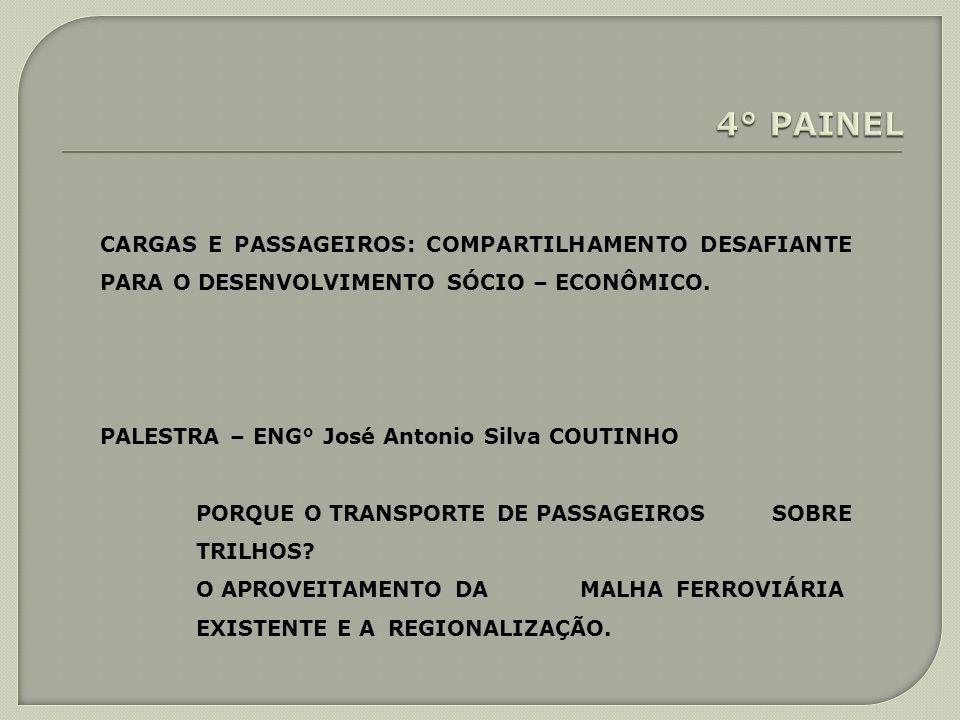 CARGAS E PASSAGEIROS: COMPARTILHAMENTO DESAFIANTE PARA O DESENVOLVIMENTO SÓCIO – ECONÔMICO. PALESTRA – ENG° José Antonio Silva COUTINHO PORQUE O TRANS