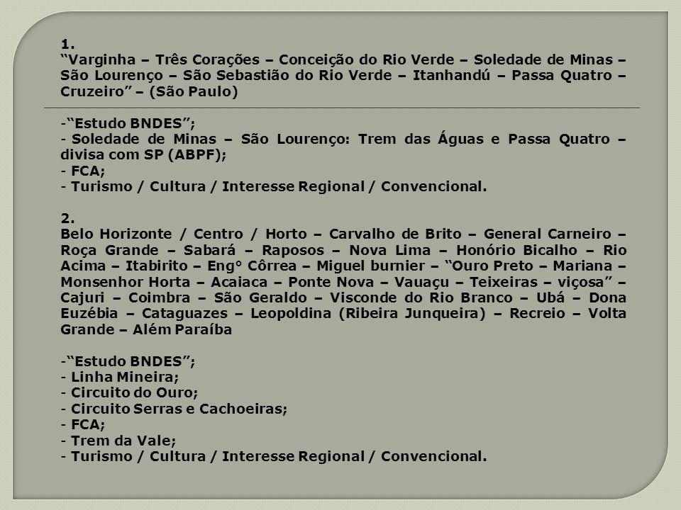 1. Varginha – Três Corações – Conceição do Rio Verde – Soledade de Minas – São Lourenço – São Sebastião do Rio Verde – Itanhandú – Passa Quatro – Cruz