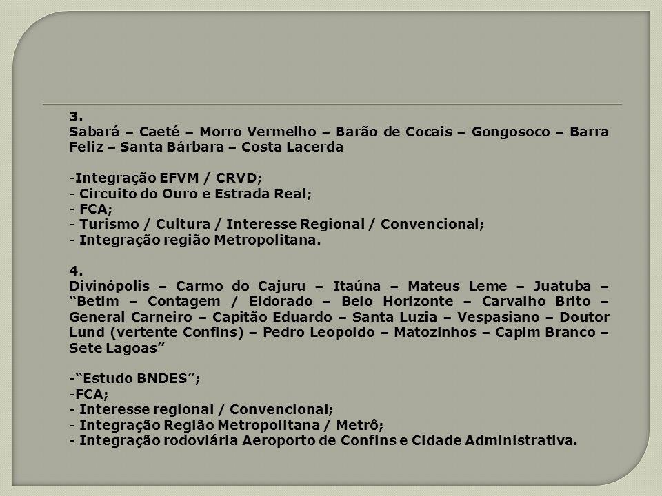 3. Sabará – Caeté – Morro Vermelho – Barão de Cocais – Gongosoco – Barra Feliz – Santa Bárbara – Costa Lacerda -Integração EFVM / CRVD; - Circuito do