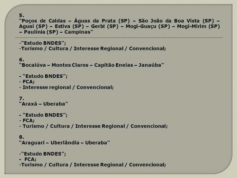 5. Poços de Caldas – Águas da Prata (SP) – São João da Boa Vista (SP) – Aguaí (SP) – Estiva (SP) – Gerbi (SP) – Mogi-Guaçu (SP) – Mogi-Mirim (SP) – Pa