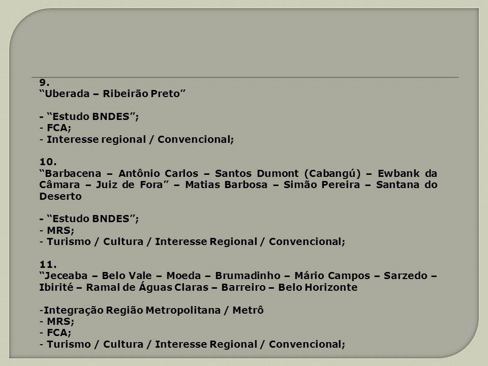 9. Uberada – Ribeirão Preto - Estudo BNDES; - FCA; - Interesse regional / Convencional; 10. Barbacena – Antônio Carlos – Santos Dumont (Cabangú) – Ewb