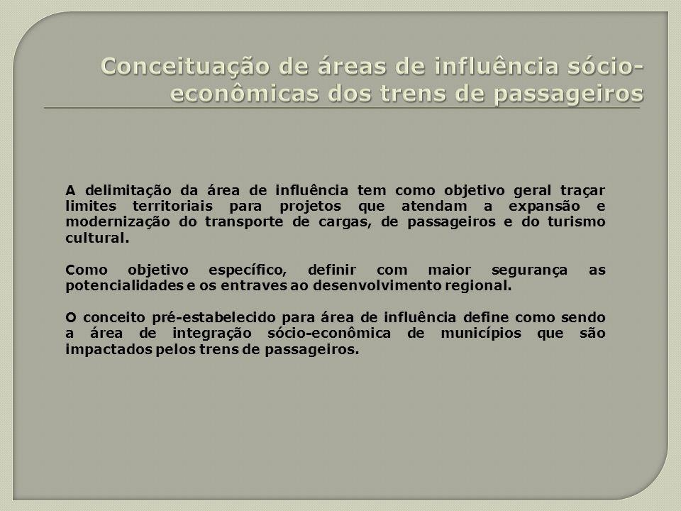 A delimitação da área de influência tem como objetivo geral traçar limites territoriais para projetos que atendam a expansão e modernização do transpo