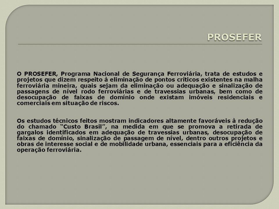 O PROSEFER, Programa Nacional de Segurança Ferroviária, trata de estudos e projetos que dizem respeito à eliminação de pontos críticos existentes na m