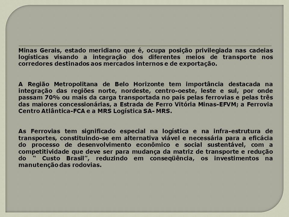 Minas Gerais, estado meridiano que é, ocupa posição privilegiada nas cadeias logísticas visando a integração dos diferentes meios de transporte nos co