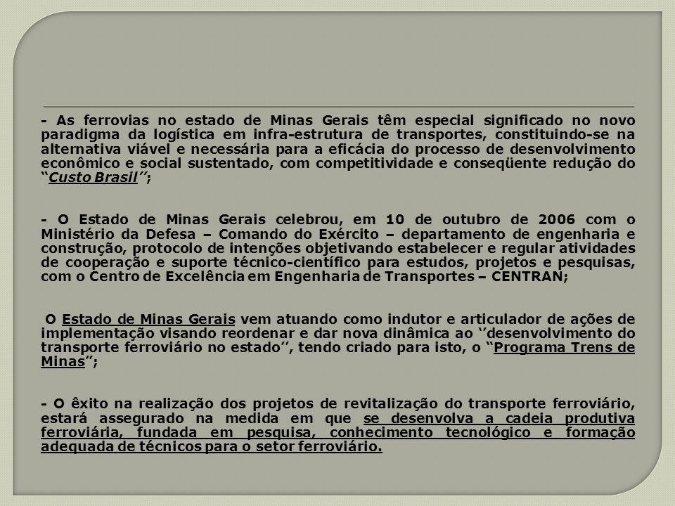 - As ferrovias no estado de Minas Gerais têm especial significado no novo paradigma da logística em infra-estrutura de transportes, constituindo-se na