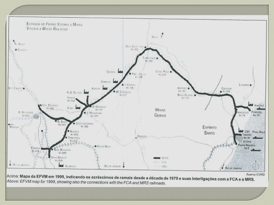 Estrada de Ferro Vitória a Minas (EFVM), ativo do sistema de logística da Vale, a EFVM é estratégica por interligar o Sudoeste e o Centro-Oeste, conectando-se a ferrovias e portos.