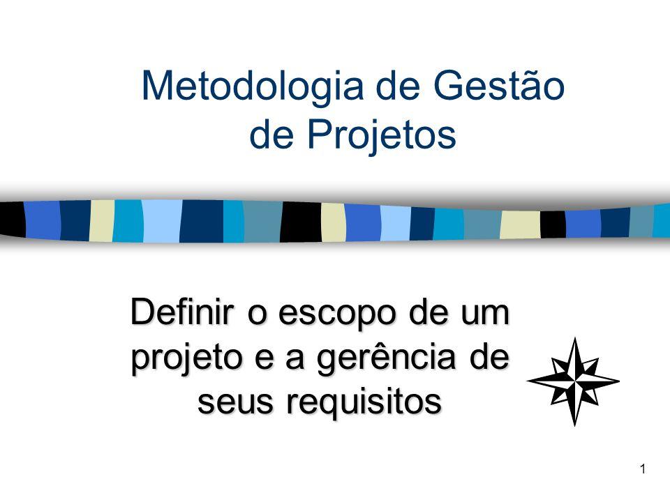1 Metodologia de Gestão de Projetos Definir o escopo de um projeto e a gerência de seus requisitos