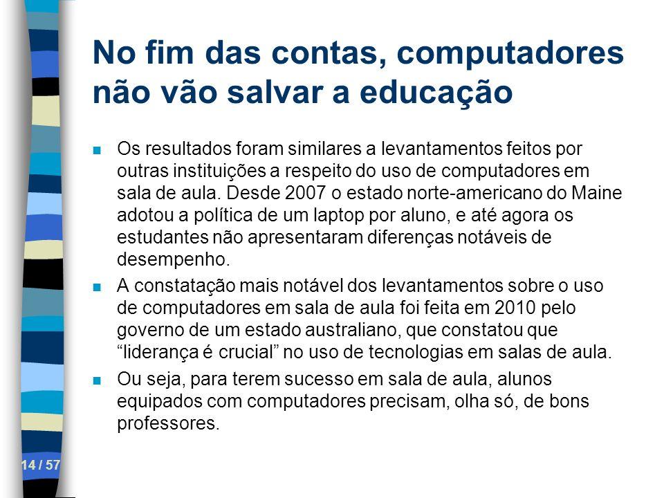 No fim das contas, computadores não vão salvar a educação 14 / 57 n Os resultados foram similares a levantamentos feitos por outras instituições a res