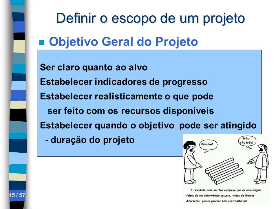 15 / 57 Definir o escopo de um projeto n Objetivo Geral do Projeto Ser claro quanto ao alvo Estabelecer indicadores de progresso Estabelecer realistic
