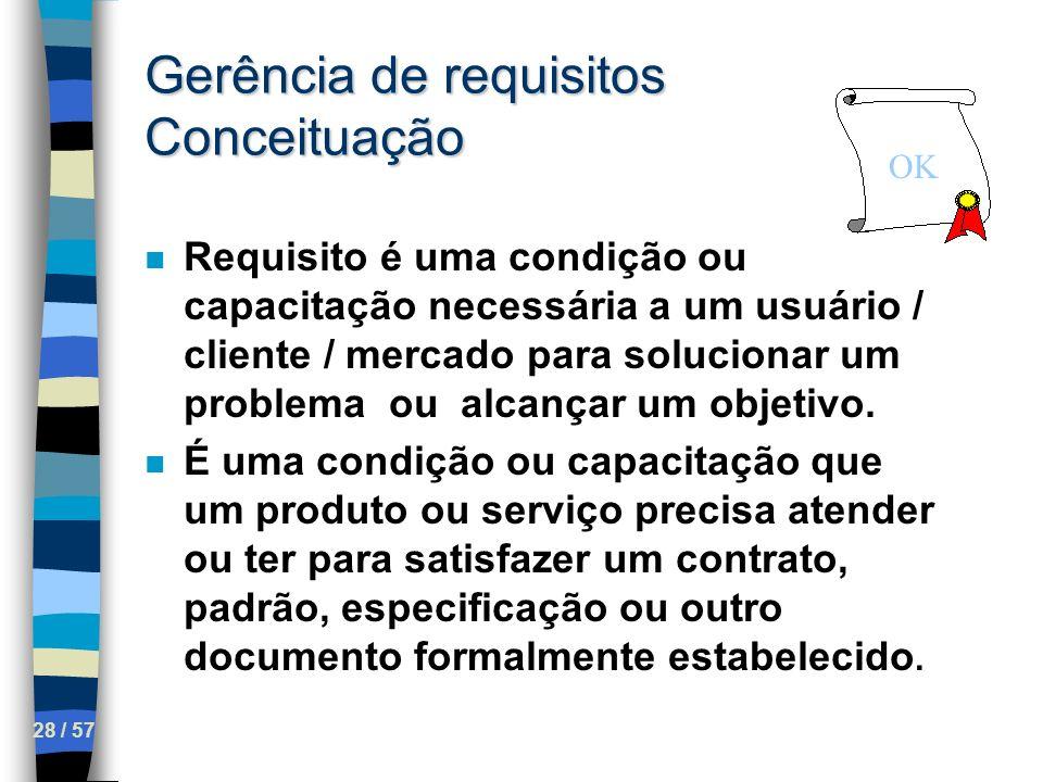 28 / 57 Gerência de requisitos Conceituação n Requisito é uma condição ou capacitação necessária a um usuário / cliente / mercado para solucionar um p