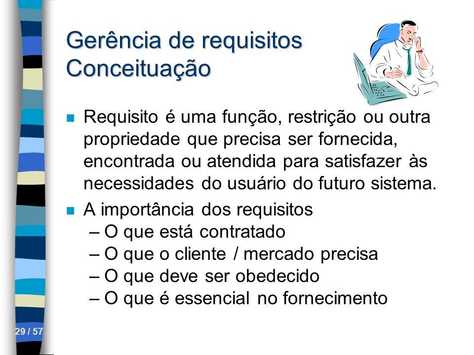 29 / 57 Gerência de requisitos Conceituação n Requisito é uma função, restrição ou outra propriedade que precisa ser fornecida, encontrada ou atendida