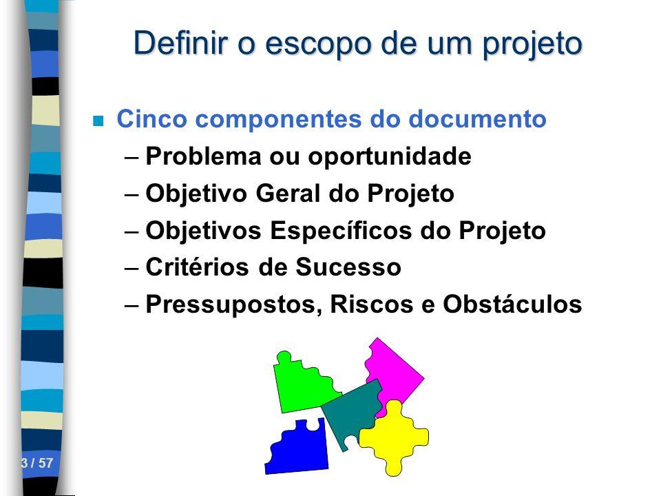 3 / 57 Definir o escopo de um projeto n Cinco componentes do documento –Problema ou oportunidade –Objetivo Geral do Projeto –Objetivos Específicos do