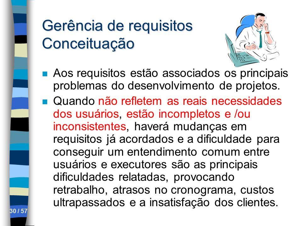 30 / 57 Gerência de requisitos Conceituação n Aos requisitos estão associados os principais problemas do desenvolvimento de projetos. n Quando não ref