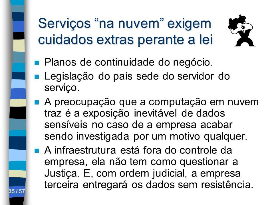 35 / 57 Serviços na nuvem exigem cuidados extras perante a lei n Planos de continuidade do negócio. n Legislação do país sede do servidor do serviço.