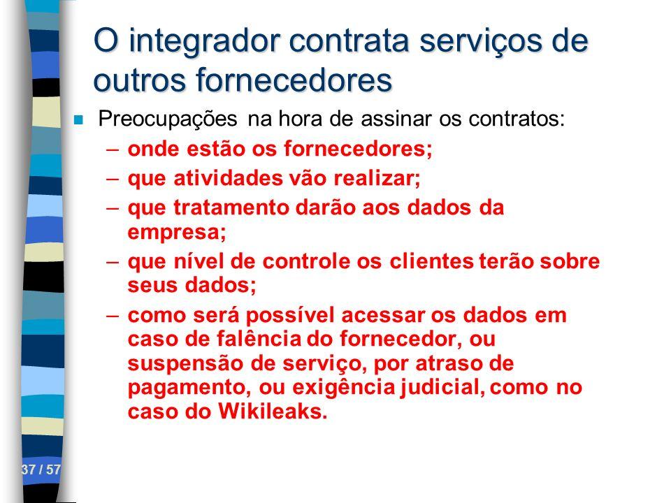 37 / 57 O integrador contrata serviços de outros fornecedores n Preocupações na hora de assinar os contratos: –onde estão os fornecedores; –que ativid