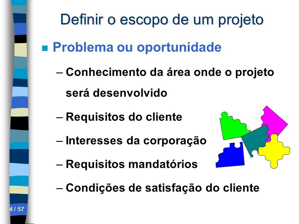 5 / 57 Definir o escopo de um projeto n Problema ou oportunidade n Exemplo –Laptop de US$100 – Nicolas Negroponte (MIT) –Presidência da República no Brasil – OK –30 dias para montar grupo de trabalho etc –3 anos depois, o que aconteceu.