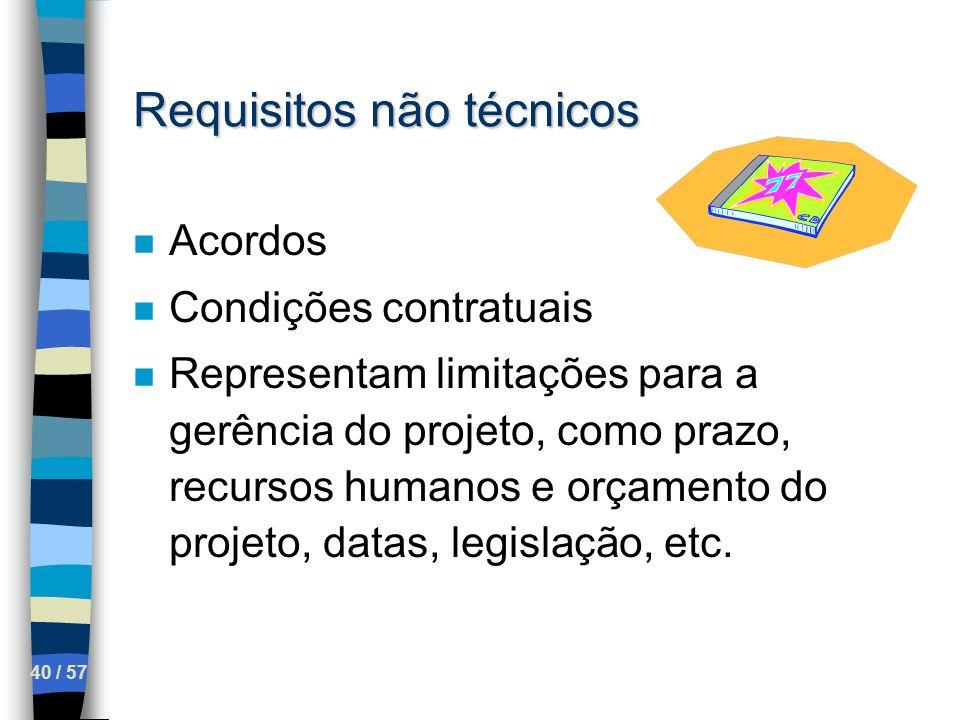 40 / 57 Requisitos não técnicos n Acordos n Condições contratuais n Representam limitações para a gerência do projeto, como prazo, recursos humanos e