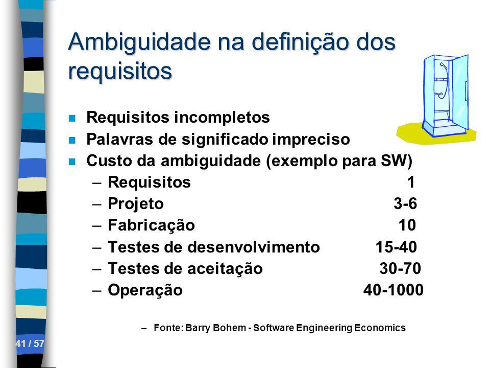 41 / 57 Ambiguidade na definição dos requisitos n Requisitos incompletos n Palavras de significado impreciso n Custo da ambiguidade (exemplo para SW)