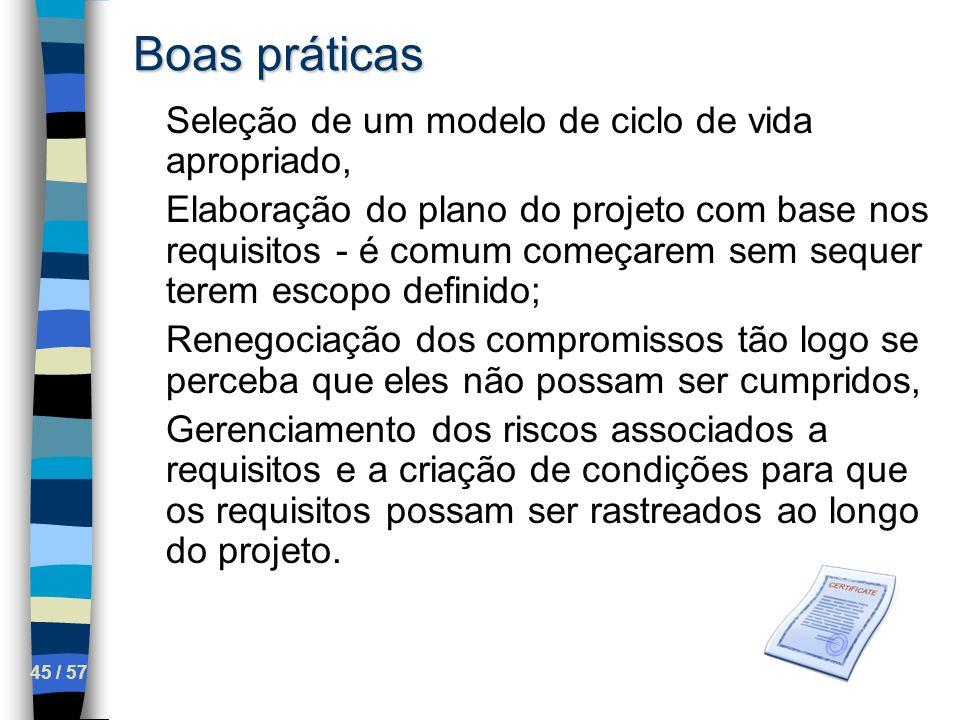 45 / 57 Boas práticas Seleção de um modelo de ciclo de vida apropriado, Elaboração do plano do projeto com base nos requisitos - é comum começarem sem