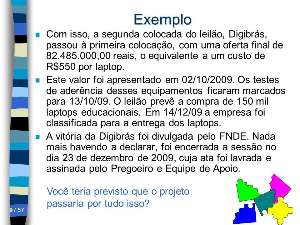 9 / 57 Exemplo n Com isso, a segunda colocada do leilão, Digibrás, passou à primeira colocação, com uma oferta final de 82.485.000,00 reais, o equival
