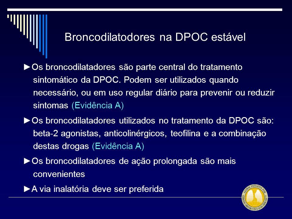 Broncodilatodores na DPOC estável Os broncodilatadores são parte central do tratamento sintomático da DPOC. Podem ser utilizados quando necessário, ou