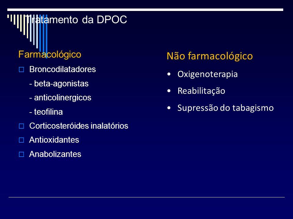 Tratamento da DPOC Farmacológico Broncodilatadores - beta-agonistas - anticolinergicos - teofilina Corticosteróides inalatórios Antioxidantes Anaboliz