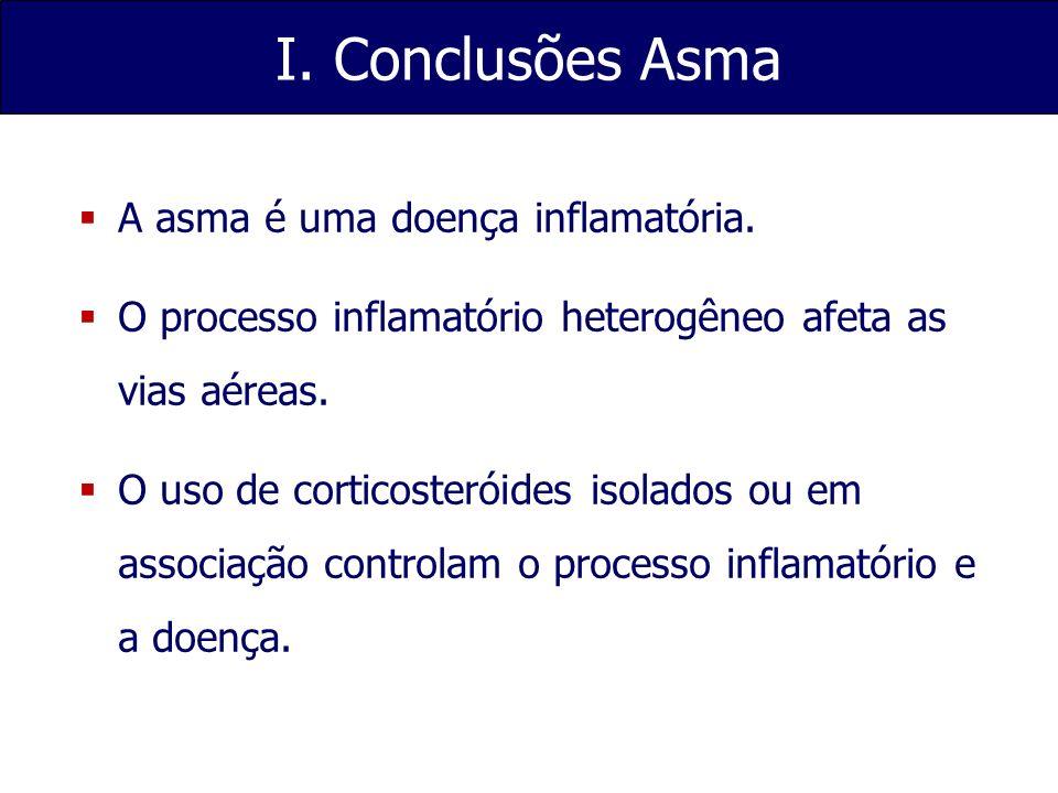 I. Conclusões Asma A asma é uma doença inflamatória. O processo inflamatório heterogêneo afeta as vias aéreas. O uso de corticosteróides isolados ou e